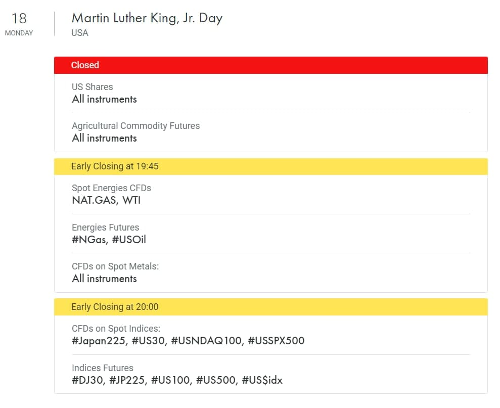 Trading schedule changes on Martin Luther King Jr. Day