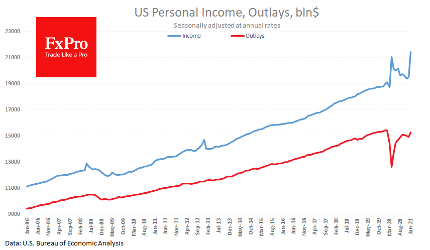 US personal income jumps in January, spending lags